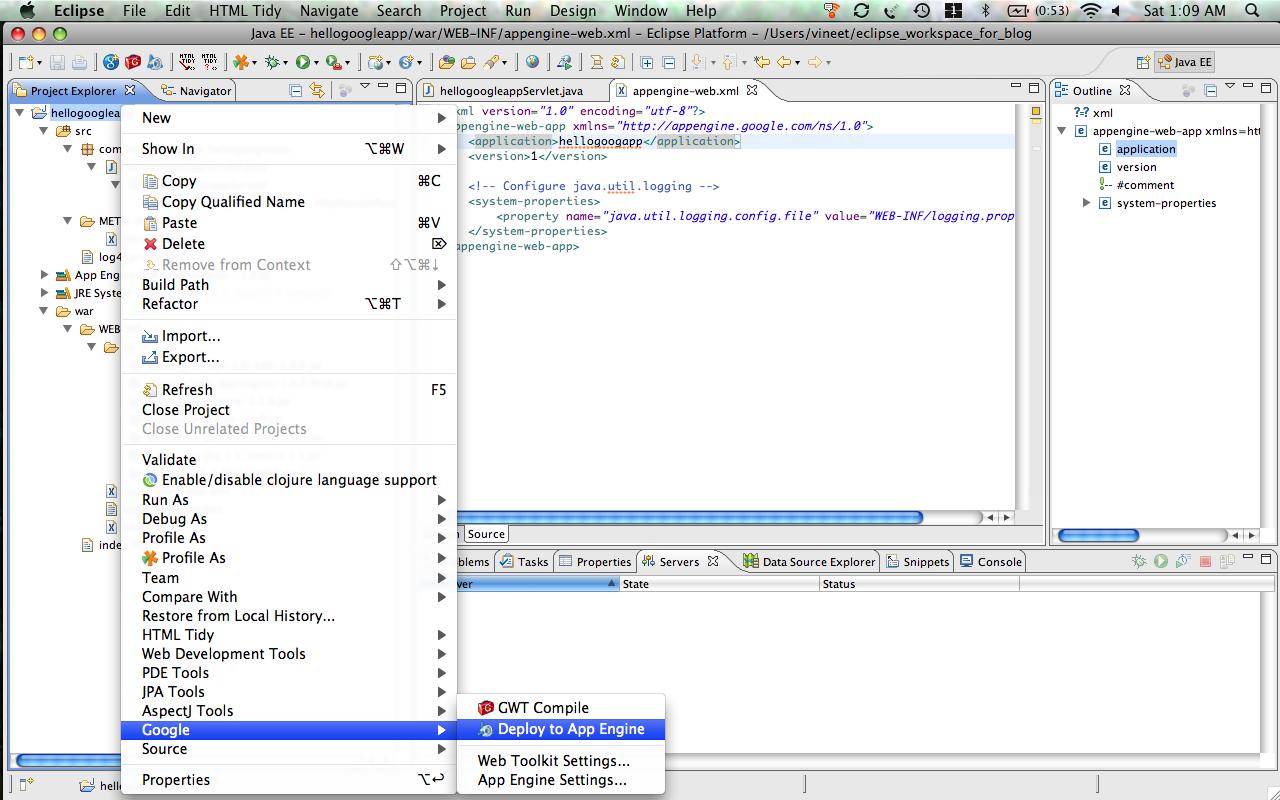 Writing java hello world for google app engine vineet manohars blog eclipse goog deploy to app engine baditri Choice Image